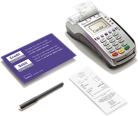 CardX credit card terminal and receipts